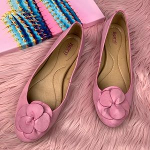 Born pink Annelie leather flower ballet flats 8